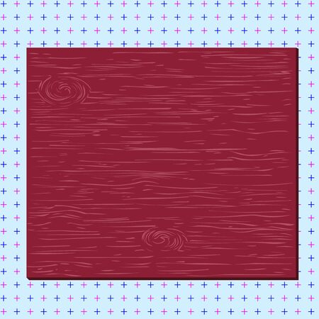 Square rectangle unreal cartoon wood wooden nailed stuck on coloured wall Design business concept Empty template copy space text for Ad website isolated