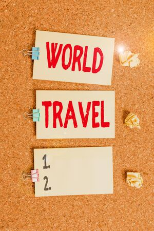Handwriting text writing World Travel. Conceptual photo the movement of showing between distant geographical locations Vertical empty sticker reminder memo square billboard corkboard desk paper