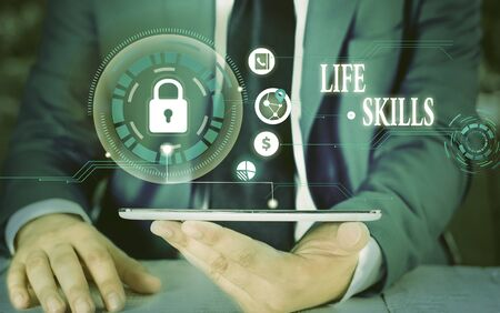Writing note showing Life Skills. Business concept for skill that is necessary for full participation in everyday life Picture photo network scheme with modern smart device Foto de archivo - 135041328