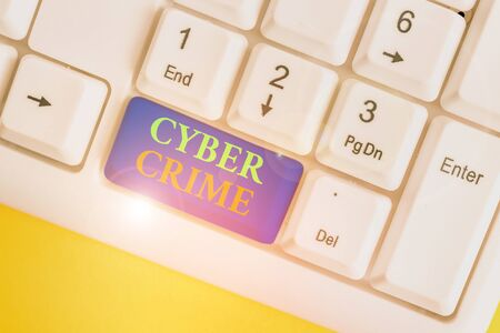 Conceptual hand writing showing Cyber Crime. Concept meaning kind of criminal activities carried out by means of Internet White pc keyboard with note paper above the white background Stock fotó