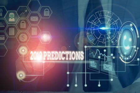 Conceptual hand writing showing 2019 Predictions. Concept meaning statement about what you think will happen in 2019 Picture photo network scheme with modern smart device