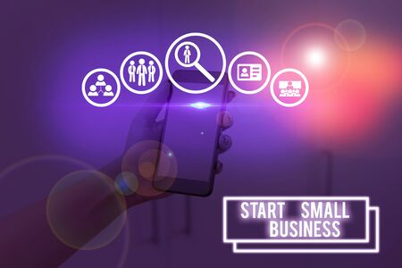 Text sign showing Start Small Business. Business photo showcasing Aspiring Entrepreneur a New Venture Trade Industry