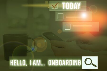 Conceptual hand writing showing Hello I Am Onboarding. Concept meaning telling demonstrating that you are on ship or plane