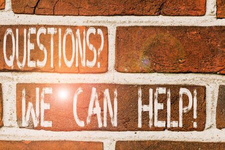 Writing note showing Questionsquestion We Can Help. Business concept for offering help to those who wants to know Front view red brick wall facade background Old grunge scenery Zdjęcie Seryjne