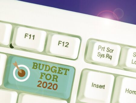 Word writing text Budget For 2020. Business photo showcasing An written estimates of income and expenditure for 2020