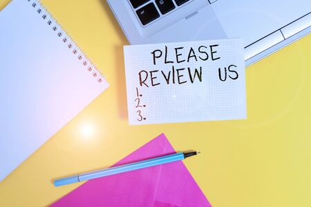 Conceptual hand writing showing Please Review Us. Concept meaning Give a feedback Opinion Comments Quality of service Laptop marker square sheet spiral notebook color background