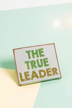 Word writing text The True Leader. Business photo showcasing one that move and encourage group of showing Responsibility Paper placed tilted above buffer wire on soft pastel multi colours backdrop Stock Photo