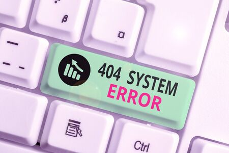 Writing note showing 404 System Error. Business concept for message appears when website is down and cant be reached Stockfoto