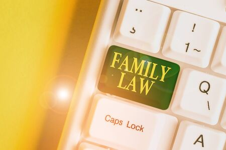 Handwriting text Family Law. Conceptual photo the branch of law that deals with matters relating to the family White pc keyboard with empty note paper above white background key copy space
