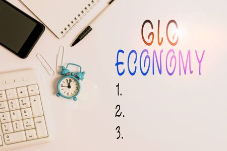 Conceptual hand writing showing Gig Economy. Concept meaning free market system in which temporary positions are common Business concept with space for advertising and text message