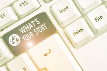 Writing note showing What S Your Story. Business concept for asking someone tell me about himself Share experience White pc keyboard with note paper above the white background Stock fotó