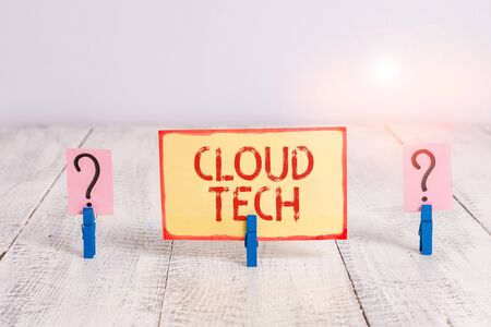 Text sign showing Cloud Tech. Business photo text storing and accessing data and programs over the Internet Scribbled and crumbling sheet with paper clips placed on the wooden table