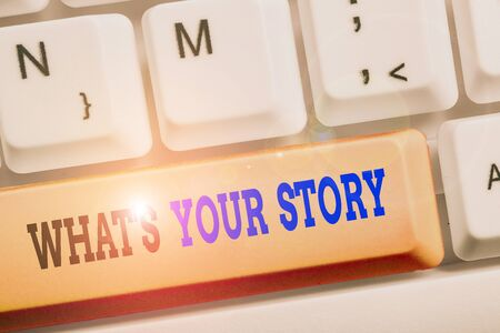 Text sign showing What S Your Story. Business photo text asking someone tell me about himself Share experience