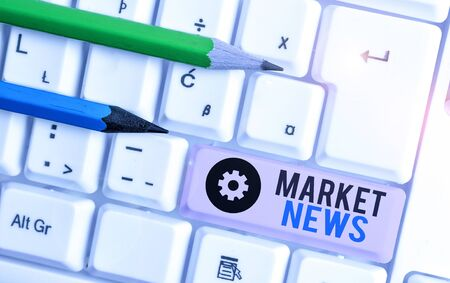 Writing note showing Market News. Business concept for Commercial Notice Trade Report Market Update Corporate Insight