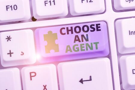 Writing note showing Choose An Agent. Business concept for Choose someone who chooses decisions on behalf of you Фото со стока