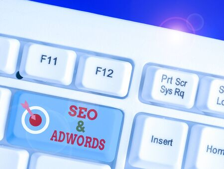 Word writing text Seo And Adwords. Business photo showcasing Pay per click Digital marketing Google Adsense