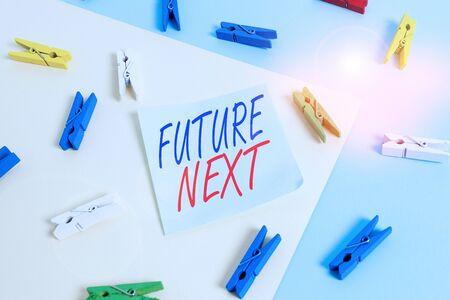 Text sign showing Futuro Next. Business photo showcasing Set of mental process Huanalysis mind workflow Unique icons Colored clothespin paper empty reminder yellow blue floor background office