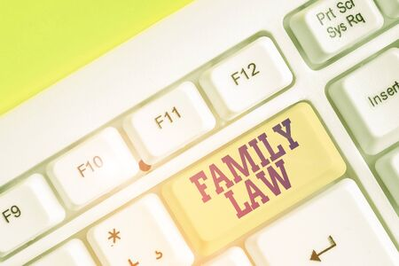 Handwriting text writing Family Law. Conceptual photo the branch of law that deals with matters relating to the family