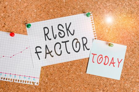 Word writing text Risk Factor. Business photo showcasing a condition behavior or other factor that increases danger Corkboard color size paper pin thumbtack tack sheet billboard notice board Stockfoto