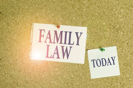 Handwriting text Family Law. Conceptual photo the branch of law that deals with matters relating to the family Corkboard color size paper pin thumbtack tack sheet billboard notice board