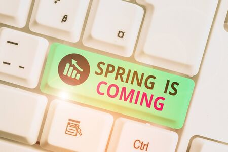 Writing note showing Spring Is Coming. Business concept for After winter season is approaching Enjoy nature flowers sun