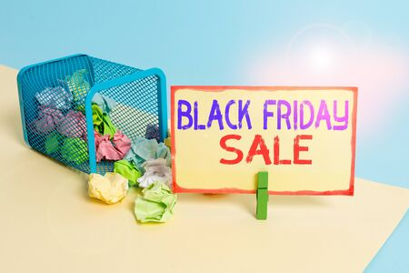 Writing note showing Black Friday Sale. Business concept for Shopping Day Start of the Christmas Shopping Season Trash bin crumpled paper clothespin reminder office supplies