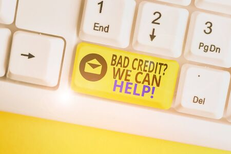 Word writing text Bad Credit Question We Can Help. Business photo showcasing offering help after going for loan then rejected White pc keyboard with empty note paper above white background key copy space Stok Fotoğraf
