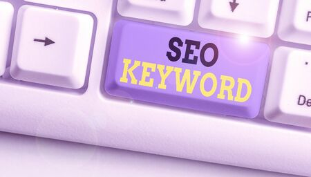 Handwriting text writing Seo Keyword. Conceptual photo phrases in your web content that help showing find your site
