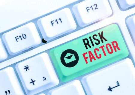 Text sign showing Risk Factor. Business photo text a condition behavior or other factor that increases danger Stockfoto