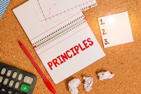Writing note showing Principles. Business concept for fundamental truth that serves as the base for a system of belief Desk notebook paper office paperboard study supplies chart