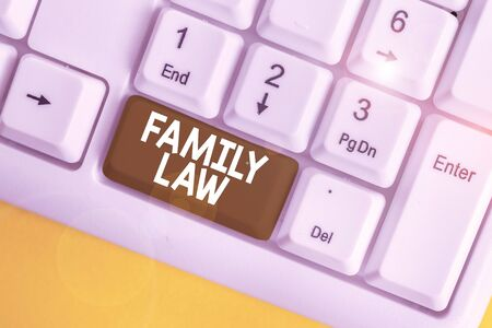 Word writing text Family Law. Business photo showcasing the branch of law that deals with matters relating to the family White pc keyboard with empty note paper above white background key copy space