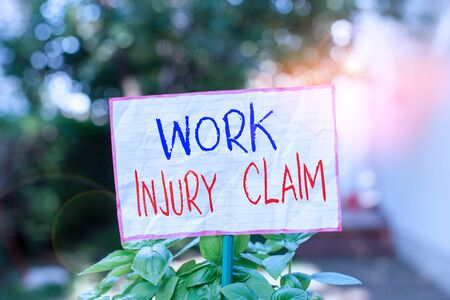 Conceptual hand writing showing Work Injury Claim. Concept meaning Medical care reimbursement Employee compensation Plain paper attached to stick and placed in the grassy land Imagens