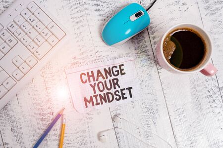 Conceptual hand writing showing Change Your Mindset. Concept meaning replace your beliefs way of thinking mental path Technological devices colored reminder paper office supplies Stock fotó