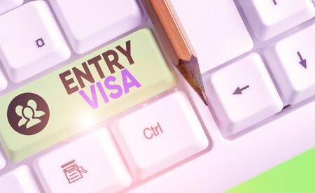 Word writing text Entry Visa. Business photo showcasing permission to enter a country of which you are not a national Stok Fotoğraf