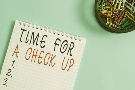 Writing note showing Time For A Check Up. Business concept for a Thorough Examination have a Look on something someone Blank empty notebook and stationary placed above pastel colour backdrop