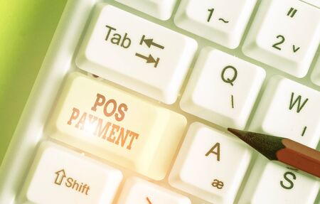 Writing note showing Pos Payment. Business concept for customer tenders payment in exchange for goods and services