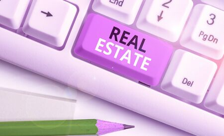Handwriting text Real Estate. Conceptual photo the property consisting of land and the buildings on it Stockfoto