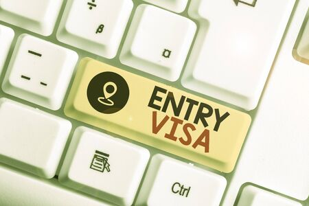 Text sign showing Entry Visa. Business photo text permission to enter a country of which you are not a national Stok Fotoğraf