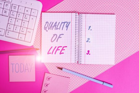 Handwriting text writing Quality Of Life. Conceptual photo being in good health decent job Enjoying every moment Writing equipments and computer stuffs placed above colored plain table