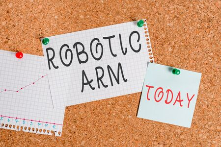 Word writing text Robotic Arm. Business photo showcasing programmable mechanical arm with similar function of a huanalysis arm Corkboard color size paper pin thumbtack tack sheet billboard notice boar