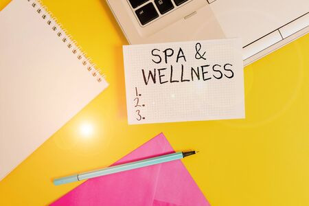Conceptual hand writing showing Spa And Wellness. Concept meaning Place where showing go to improve their health Relaxation Laptop marker square sheet spiral notebook color background Stock Photo - 133726880