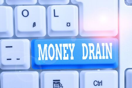 Handwriting text writing Money Drain. Conceptual photo To waste or squander money Spend money foolishly or carelessly White pc keyboard with empty note paper above white background key copy space Stok Fotoğraf
