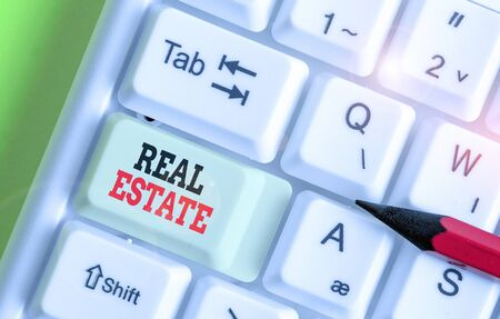 Writing note showing Real Estate. Business concept for the property consisting of land and the buildings on it