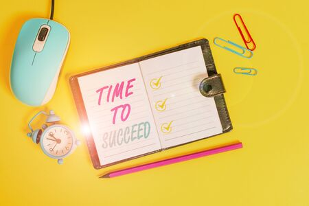 Word writing text Time To Succeed. Business photo showcasing Thriumph opportunity Success Achievement Achieve your goals Locked diary sheets clips marker mouse alarm clock colored background Stock fotó
