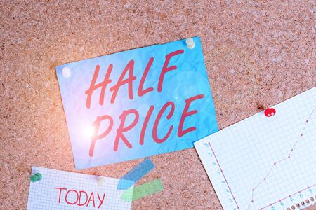 Text sign showing Half Price. Business photo showcasing half the usual price at which something is offered for sale Corkboard color size paper pin thumbtack tack sheet billboard notice board Stock fotó