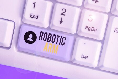 Writing note showing Robotic Arm. Business concept for programmable mechanical arm with similar function of a huanalysis arm