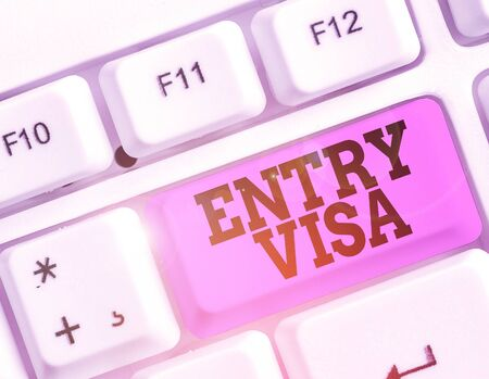Writing note showing Entry Visa. Business concept for permission to enter a country of which you are not a national Stok Fotoğraf - 133727053