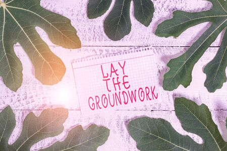 Word writing text Lay The Groundwork. Business photo showcasing Preparing the Basics or Foundation for something Leaves surrounding notepaper above a classic wooden table as the background
