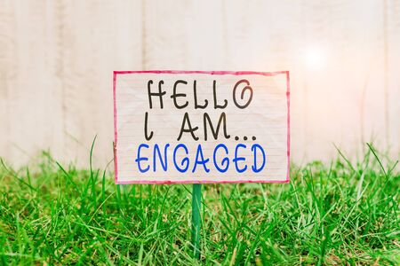 Text sign showing Hello I Am Engaged. Business photo text He gave the ring We are going to get married Wedding Crumpled paper attached to a stick and placed in the green grassy land