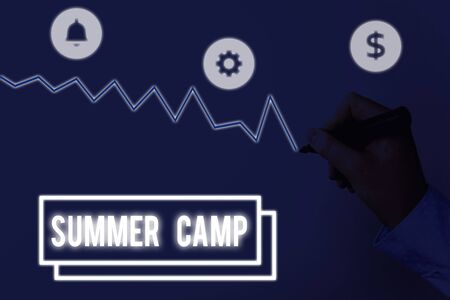 Writing note showing Summer Camp. Business concept for supervised program for children conducted during the summer